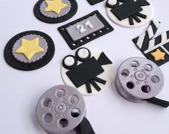 Hollywood Set (qty 12) handmade edible fondant cupcake toppers made by FancyTopCupcake
