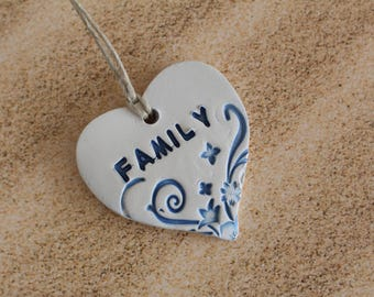 Family Wall ornament Personalized Ornament Heart Ornament Inspirational word Custom Word Baby Name ornament Word decor Ceramic ornament