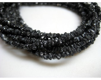 Rough Black Diamonds - Raw Uncut Diamond Beads - 2mm To 3mm - 8 Inches Half Strand