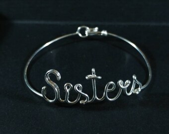 Custom Sterling Silver Wire Name Bracelet Personalised Gift for Her sisters, Handmade in UK  handcrafted by kolezi bros, solid silver bangle