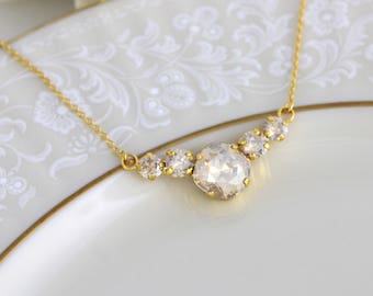 Gold Bridal necklace, Bridal jewelry, Crystal Wedding necklace, Swarovski crystal necklace, Simple necklace, Bridesmaid necklace, Pendant
