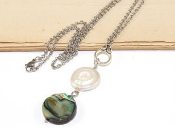 Paua Shell & Freshwater Pearl Drop Pendant Necklace, Handmade New Zealand Abalone Pendant