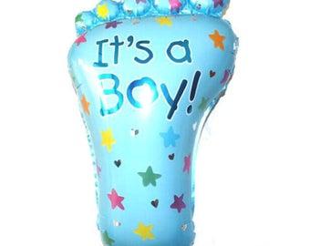 ball foot baptism baby shower boy blue