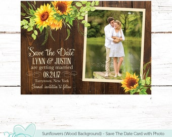 Sunflowers Save The Date Card With Photo On A Wood Background , Save Our Date, Yellow, Flowers, Printable, Floral, Brown, Picture, 42S