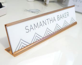 "Custom Geometric Nameplate ""Samantha"" - Personalized Desk Name Plate Sign Decor - Office Accessories - Wall Mount Option"