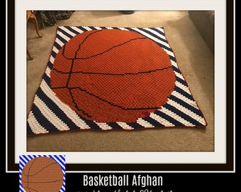 Basketball Stripes Afghan, C2C Graph, Written Word Chart