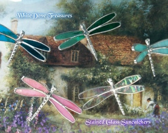 "PINK DRAGONFLY STAINED Glass Suncatchers 4x2"" ~ Gift Box"