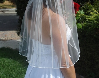 Waist Length One Tier Veil With Pencil Edge - READY TO SHIP in 3-5 Business Days