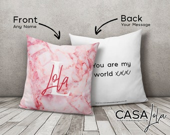 Personalised Pink Marble Cushion, Personalised Cushion Cover Initials, Marble Monogram Cushion Cover, Square Pillow, Pink Decor