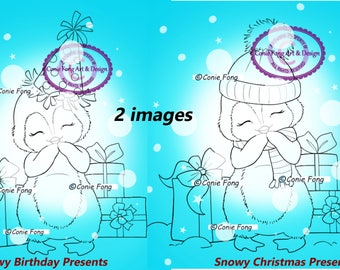 SALE-Digital Stamp, Digi Stamp, Digistamp, Snowy Presents Bundle by Conie Fong, Penguin, Christmas, Birthday, coloring page