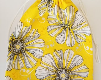 Yellow Flower Drawstring Gift Bag