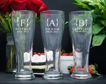 Pilsner Beer Glasses Personalized, Engraved Beer Glasses, Groomsmen Gifts, Wedding Party Gifts, Pilsner Glasses, Pilsner Beer Glasses