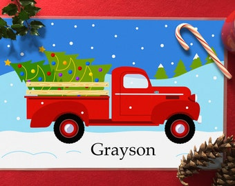 Kids Personalized Christmas Tree Truck Placemat, Kids Placemat, Christmas Tree Placemat, Kids Holiday Placemat, Laminated Placemat