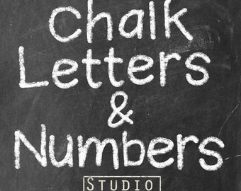 Chalk Letters and Numbers - 75 Elements - Hand Drawn Chalk Lettering  - Commercial Use - Instant Download School Chalkboard Letters
