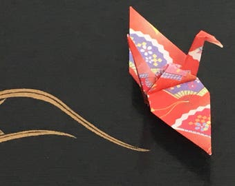 Origami Paper Cranes-10 Japanese Chiyogami Paper Cranes with Red Kimono Patterns