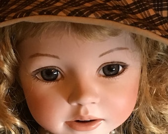 "Large Handmade 28"" Porcelain Doll"