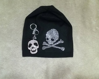 women wool blend beanie, custom made,rhinestones, skull