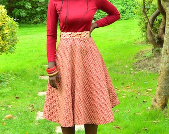 Wax midi flared skirt
