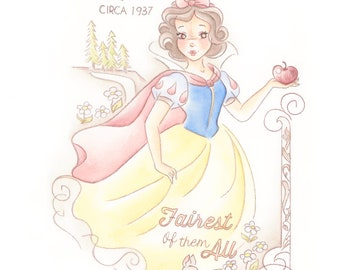 Snow White, print, princess, Disney, art