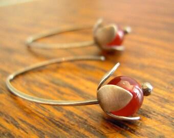 Carnelian earrings. Sterling silver flower earrings with red carnelian.