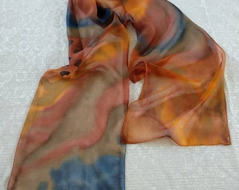 Hand painted silk scarf - abstract colorful silk scarf - Brown-Orange-Blue - nature - tiger -inspiration - chiffon silk - ready-to-ship.
