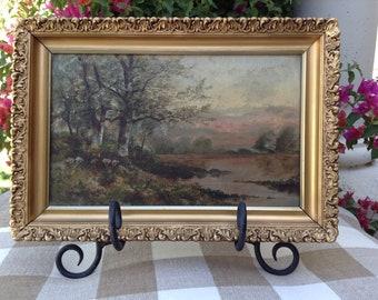 Antique Oil on Canvas of a Lovely Landscape in Original Gesso & Gilt Frame