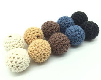16/20mm Round Wooden Crocheted Beads Colorful Woolen Teether Bead Toy Necklace