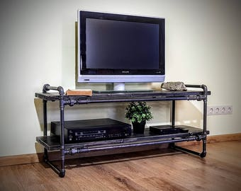 TV console, Media console, TV stand, tv cabinet, tv table, Media stand, Turntable stand, Record player table, Industrial furniture, Pipe
