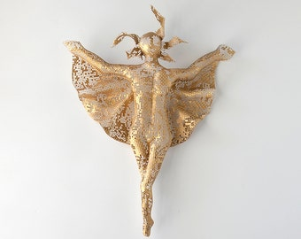 Angel Statues, Metal sculpture, Sexy nude metal torso, wire mesh, fairy sculpture, 3d wall art, angel figurines