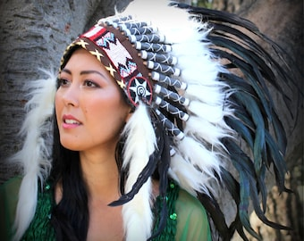INDIAN HEADDRESS Chief War bonnet Costume Native American  Feathers