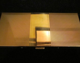1940s Pilcher Cigarette Case Business Card Case Gold Plated Mid Century Very Good to Excellent Condition