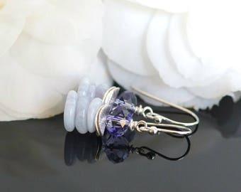 Chalcedony earrings, Swarovski crystal earrings, Chalcedony jewelry gift, Swarovski jewelry, purple earrings, Spring earrings, drop earrings