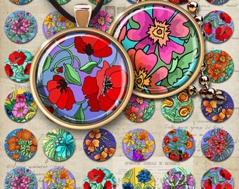 """1"""" (25mm) + 1.5"""" (38 mm) FLOWER GARDEN Circle Images Digital Collage Sheet Printable Download for pendants, bottlecaps, magnets, bezel trays"""