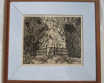 Bamboo gate, B&W in Thai Teak frame, limited edition linoleum block print, printed and signed in pencil by the artist
