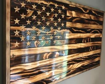 Large Handmade Burned Wood American Flag