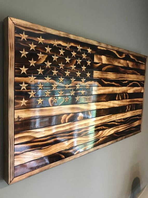 Large Handmade Burned Wood American Flag