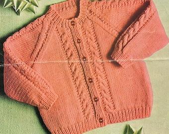 Cable Raglan Cardigan, Knitting Pattern. PDF Instant Download.