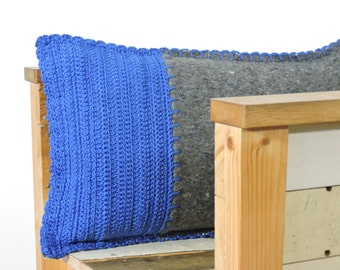 SALE, royal blue and grey pillow, moving blanket with crocheted front