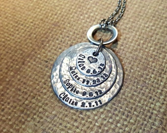Mother..Grandmother necklace with 4 names and birthdates...hand stamped