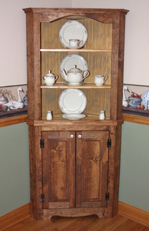 furniture pine wood new cabinet amish hutch unfinished rustic corner ebay china solid handmade bhp