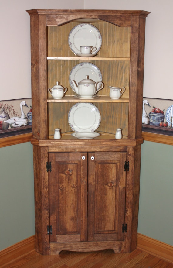 High Quality Hutch Curio Corner FREE SHIPPING Rustic Primitive China