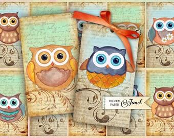 Owl Tags - digital collage sheet - set of 10 - Printable Download