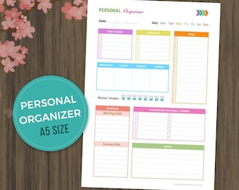 Personal Organizer, Daily Planner, ToDo List, Daily Organizer, Daily Agenda, Printable Planner, A5 Size, Daily Schedule