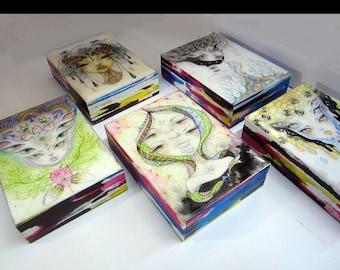 Mini Art Blocks, original art, small original, mini painting, watercolour painting, one of a kind, art by phresha, gift ideas, trippy art