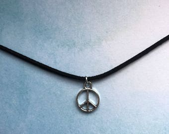 black suede choker with peace charm