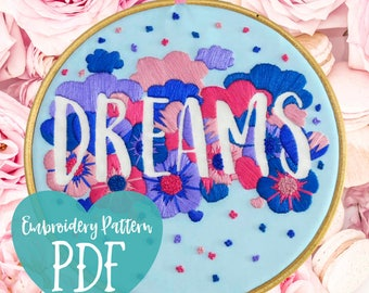 Embroidery Pattern PDF. Modern Embroidery Pattern Download. Modern Beginner Embroidery Hoop Art. Hand Embroidery. Easy Embroidery Kit Dreams