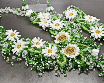 White Green Swarovski Crystal Quartz Handwoven Flower Chamomile Bridal Necklace Bracelet Set, Statement Wedding Floral Bridesmaid Beaded Set