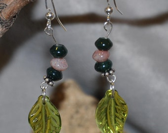 Peridot Leaf  jade Ladies Earrings, Leaf earrings, Green Earrings. Peridot dangle earrings