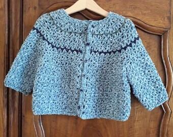 Long sleeve baby CARDIGAN to crochet