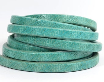 Regaliz Licorice Leather - Embossed Turquoise - Choose Your Length